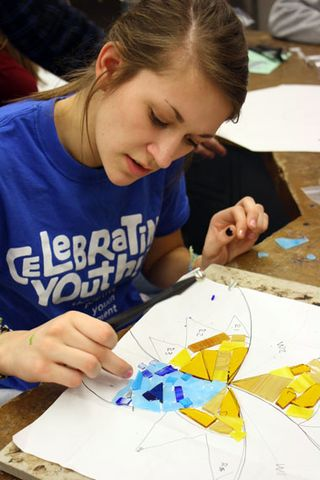 Chloe plans her mosaic in Art Metals & Glass 2