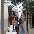 Within the streets of Santorini
