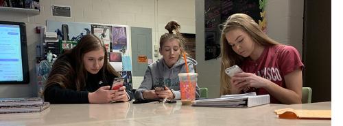 Seniors on their phone