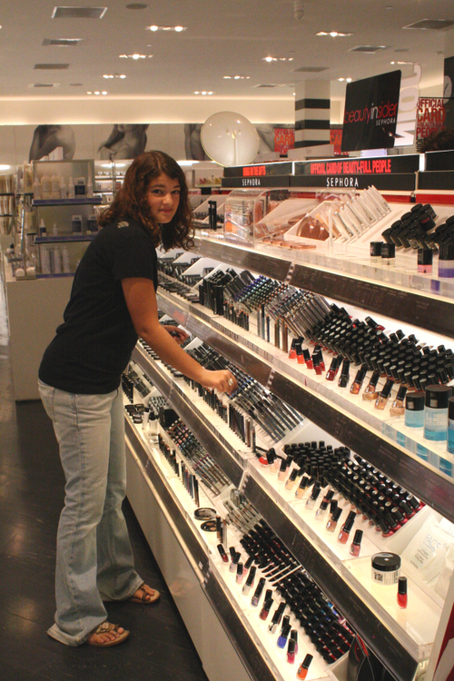 Erika is in make-up heaven